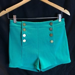 Green Button up Shorts